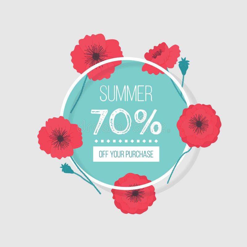 Vektorillustration med vallmo och inskriftsommar 70% av ditt köp på grå bakgrund vektor illustrationer