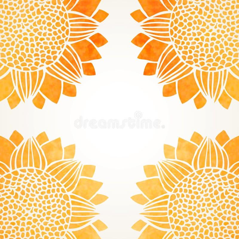 Vektorillustration med vattenfärgsolrosor royaltyfri illustrationer