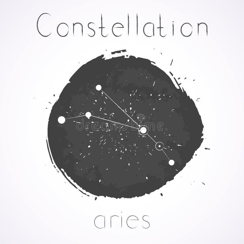 Vektorillustration med zodiakkonstellationVÄDUR vektor illustrationer