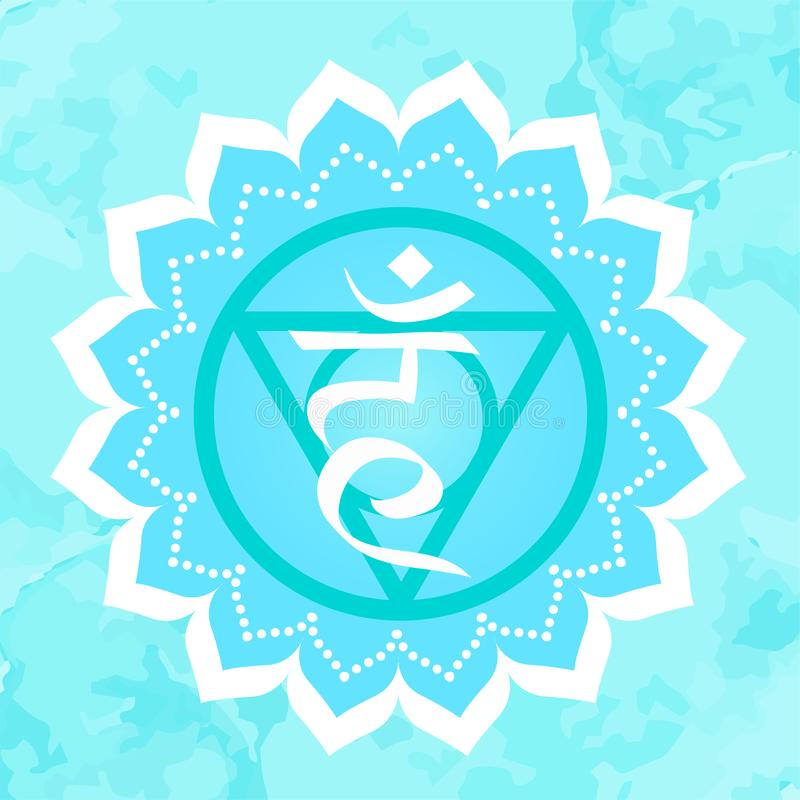 Vektorillustration mit dem Symbol von Vishuddha - Kehle-chakra auf einem blauen Hintergrund Kreismuster von den Mandalen und von  lizenzfreie abbildung