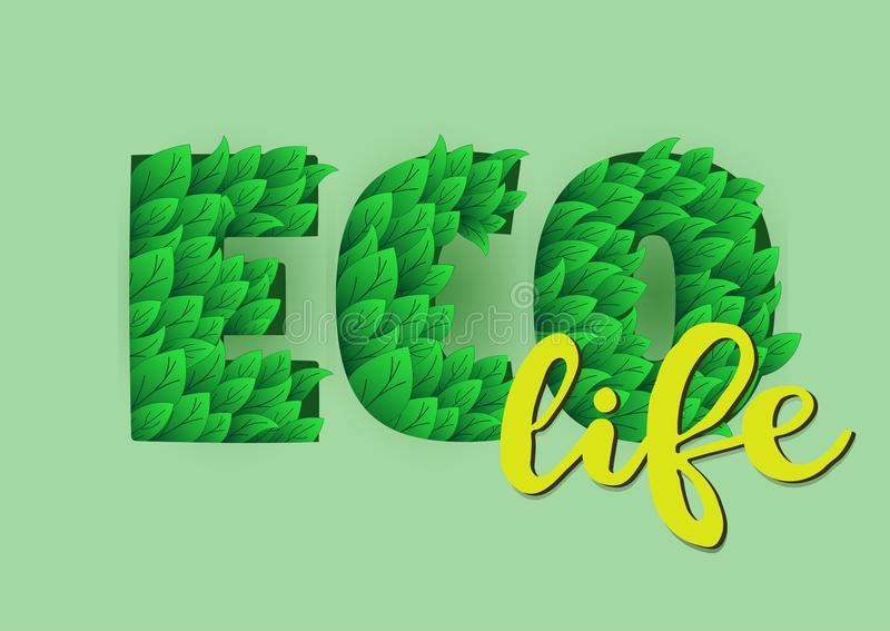 Vektorillustration mit eco Lebensymbol stock abbildung