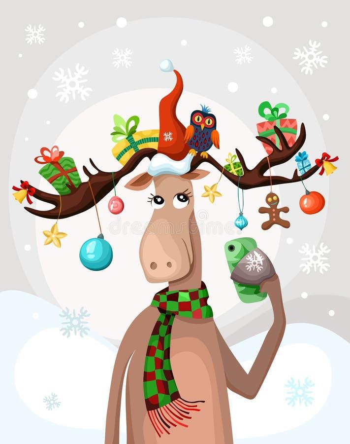 Vektorillustration mit einem netten Weihnachtselch lizenzfreie abbildung
