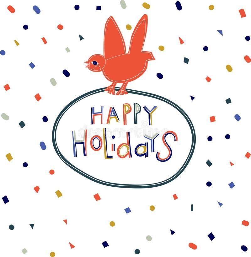 Vektorillustration mit einer Feiertagskarte, mit der Aufschrift - glücklicher Feiertag stock abbildung
