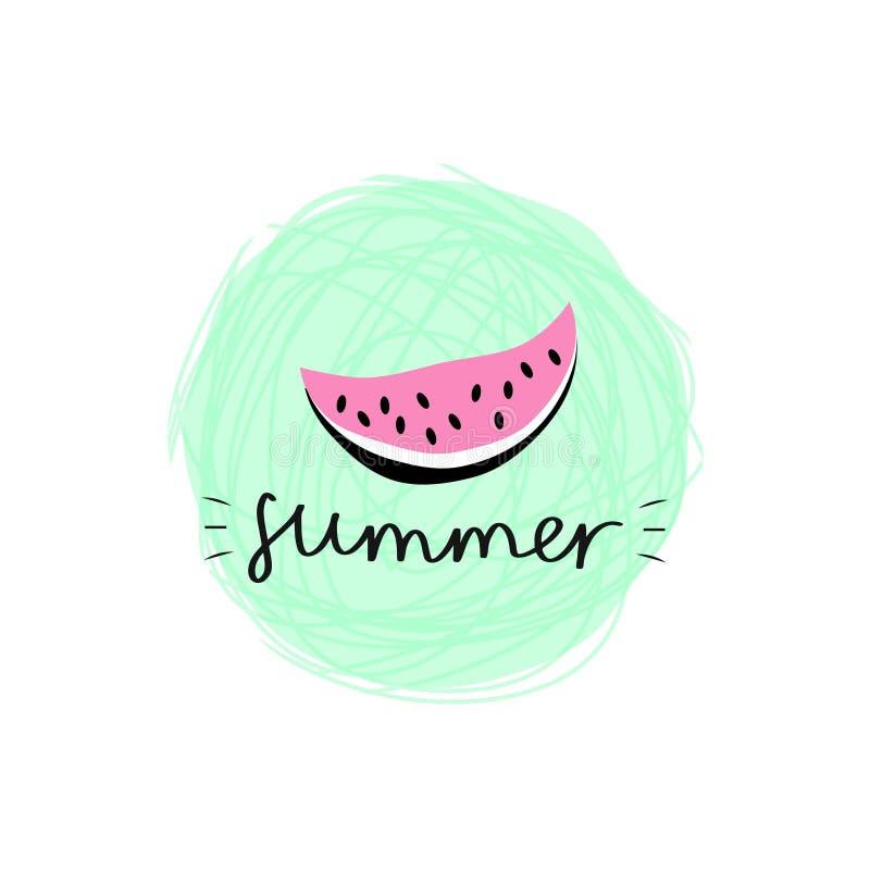 Vektorillustration mit entzückender Wassermelone auf dem grüner Hintergrund und das Wort 'Sommer lizenzfreie abbildung