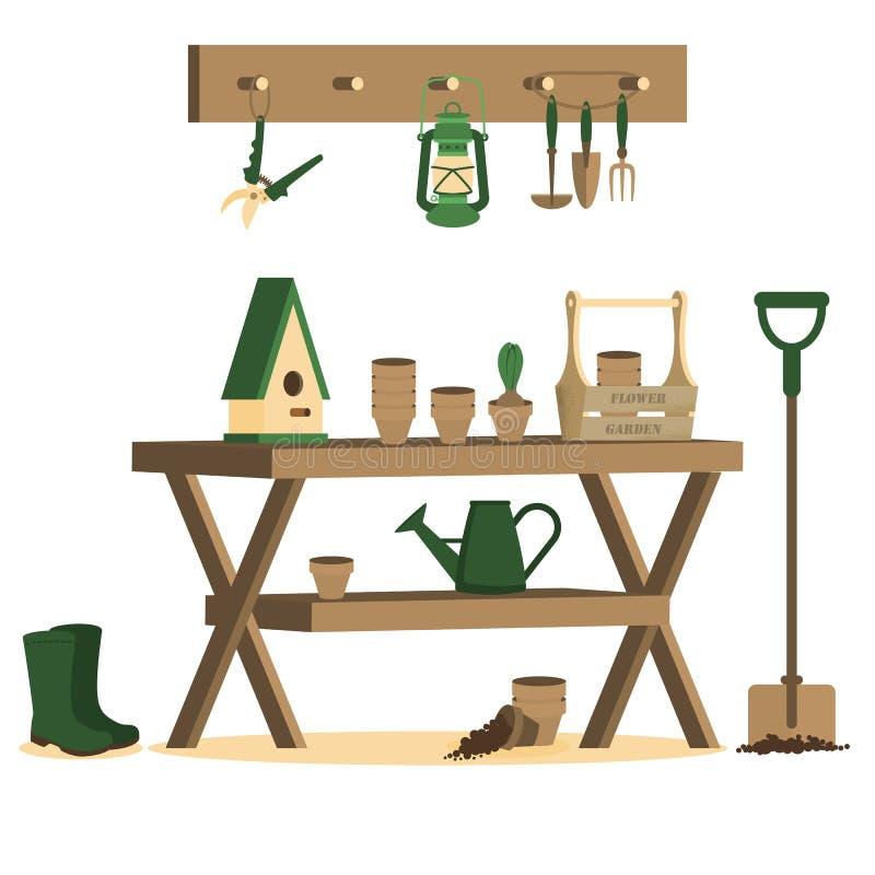 Vektorillustration mit Gartenarbeitwerkzeugen lizenzfreie abbildung