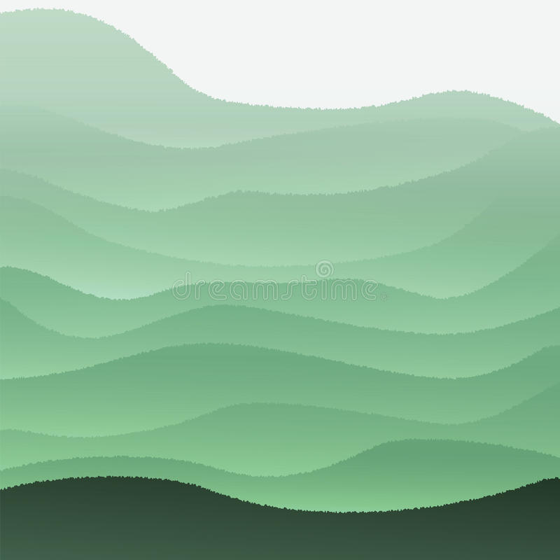 Vektorillustration mit grünen Hügeln lizenzfreies stockfoto