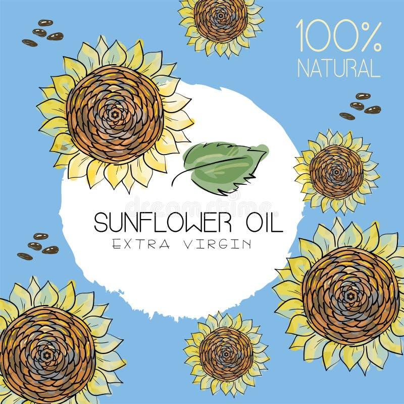 Vektorillustration mit handdrawn Sonnenblumen mit Samen auf blauem Hintergrund mit dem Text auf einem eindrucksvollen Kreis Desig lizenzfreie abbildung