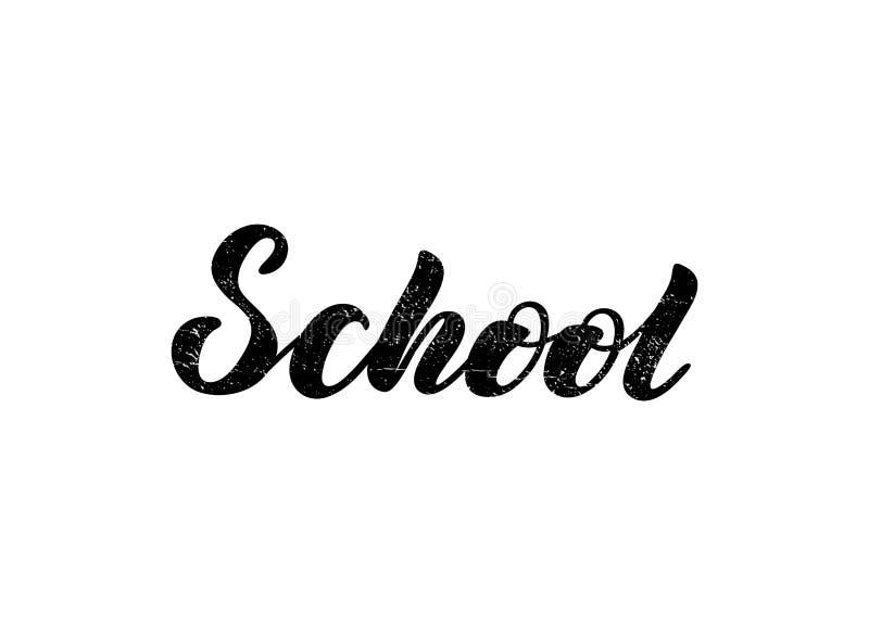 Vektorillustration mit handgeschriebener Phrase - Schule beschriftung stock abbildung