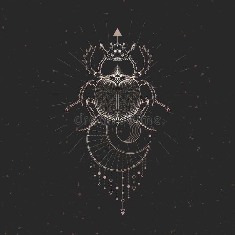 Vektorillustration mit Handgezogenem Scarabäus und heiliges geometrisches Symbol auf schwarzem Weinlesehintergrund Abstraktes mys vektor abbildung