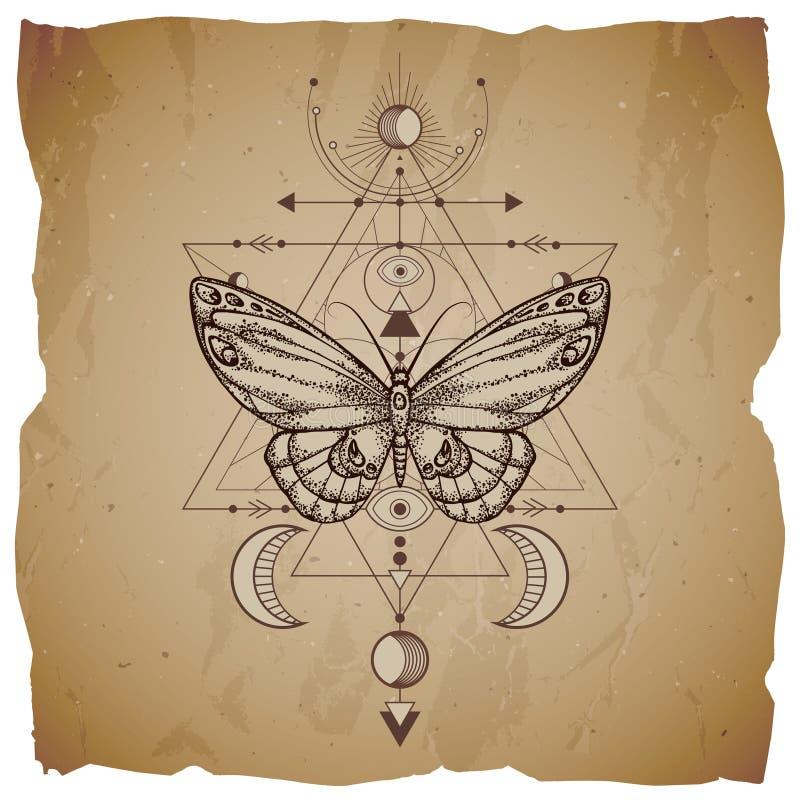 Vektorillustration mit Handgezogenem Schmetterling und heiliges geometrisches Symbol auf Weinlesepapierhintergrund mit heftigen R vektor abbildung