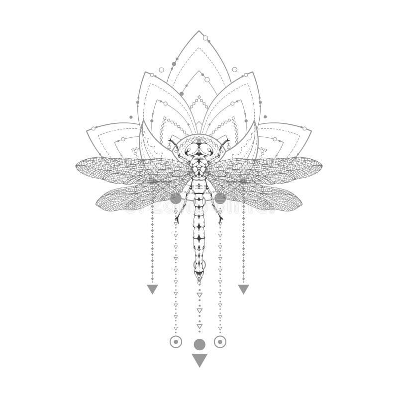 Vektorillustration mit Handgezogener Libelle und heiliges Symbol auf wei?em Hintergrund Abstraktes mystisches Zeichen stock abbildung