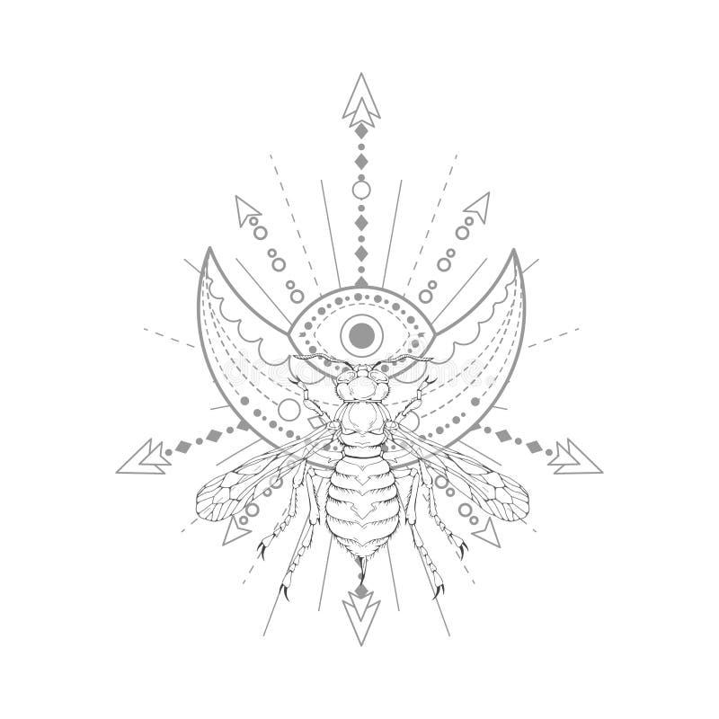 Vektorillustration mit Handgezogener Wespe und heiliges Symbol auf weißem Hintergrund Abstraktes mystisches Zeichen lizenzfreie abbildung