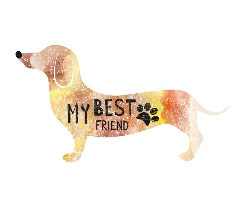 Vektorillustration mit Hund Typografieplakat mit Beschriftung - mein bester Freund Kann auf T-Shirts, Taschen gedruckt werden stock abbildung