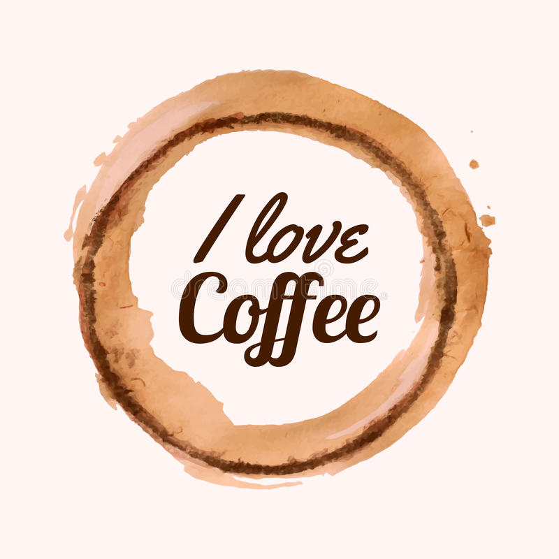 Vektorillustration mit ` I Liebeskaffee ` Phrase und Kaffee beflecken stock abbildung