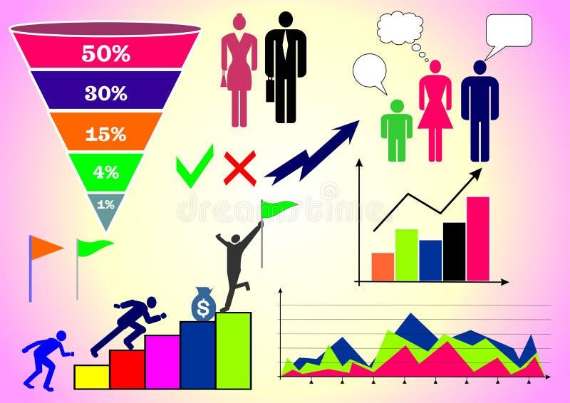 Vektorillustration mit infographics: Leute, Geschäft, Finanzierung, Diagramme und Diagramme und verschiedene Zahlen stock abbildung