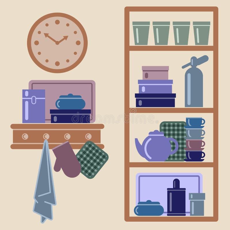 Vektorillustration mit Küchenregalen und -Kochgeräten lizenzfreie abbildung