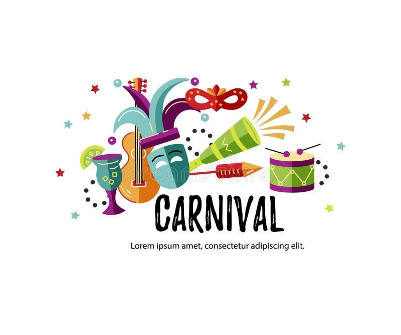 Vektorillustration mit Karneval und feierlichen Gegenständen vektor abbildung