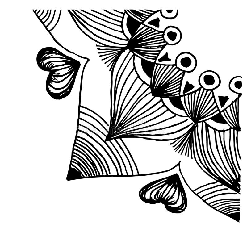 Vektorillustration mit Mandala Viertelkreis, Muster mit Spitzen wiederholend Schwarze Zeichnung auf weißem Hintergrund lizenzfreie abbildung