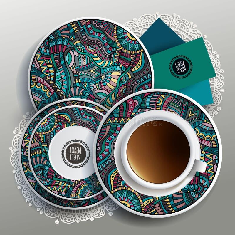 Vektorillustration mit Platten und Tasse Kaffee stock abbildung