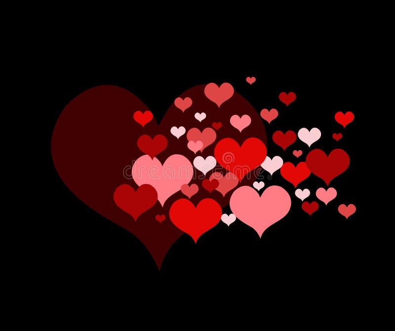 Vektorillustration mit roten Liebesherzen stock abbildung