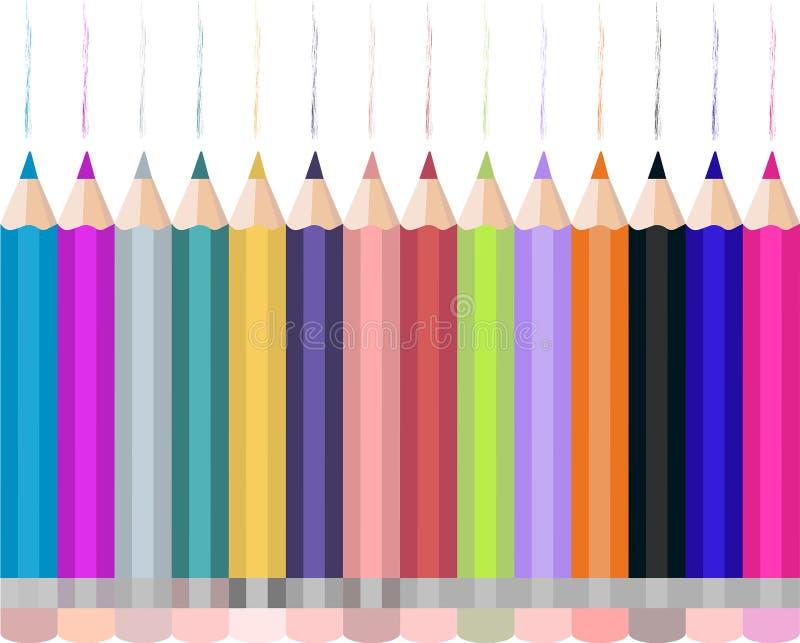 Vektorillustration mit Sammlung farbigen realistischen Bleistiften lizenzfreie abbildung