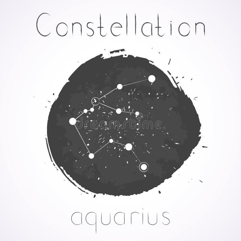 Vektorillustration mit Tierkreiskonstellation WASSERMANN lizenzfreie abbildung