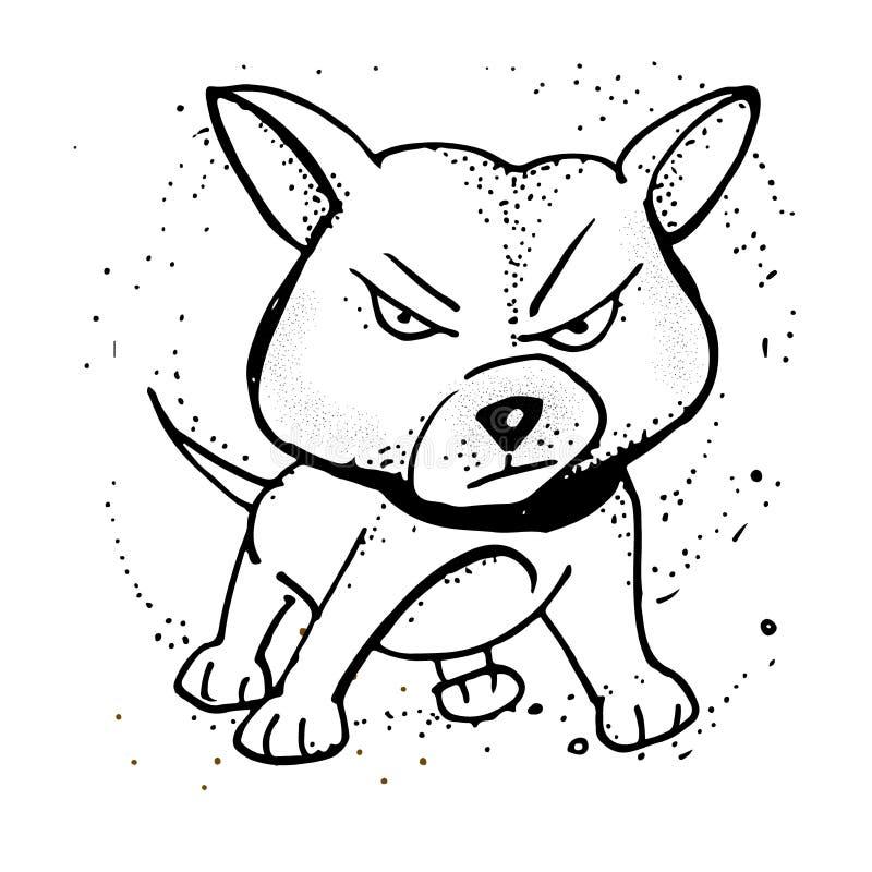 Vektorillustration mit verärgertem Welpen Emoji-Karikatur Plakat, T-Shirt Zusammensetzung, handgemachter Druck vektor abbildung