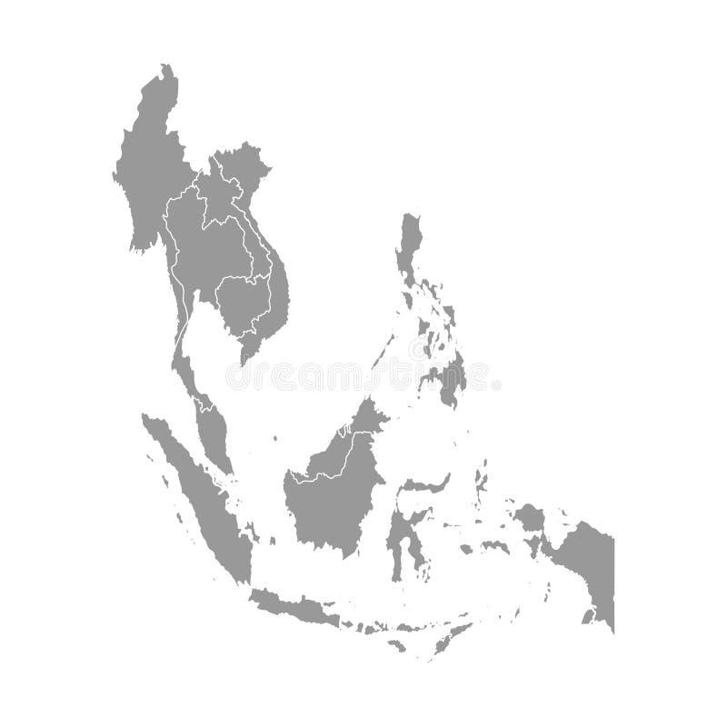 Vektorillustration mit vereinfachter Karte von asiatischen L?ndern S?dostregion Zustandsgrenzen von Myanmar, Laos, Indonesien lizenzfreie abbildung