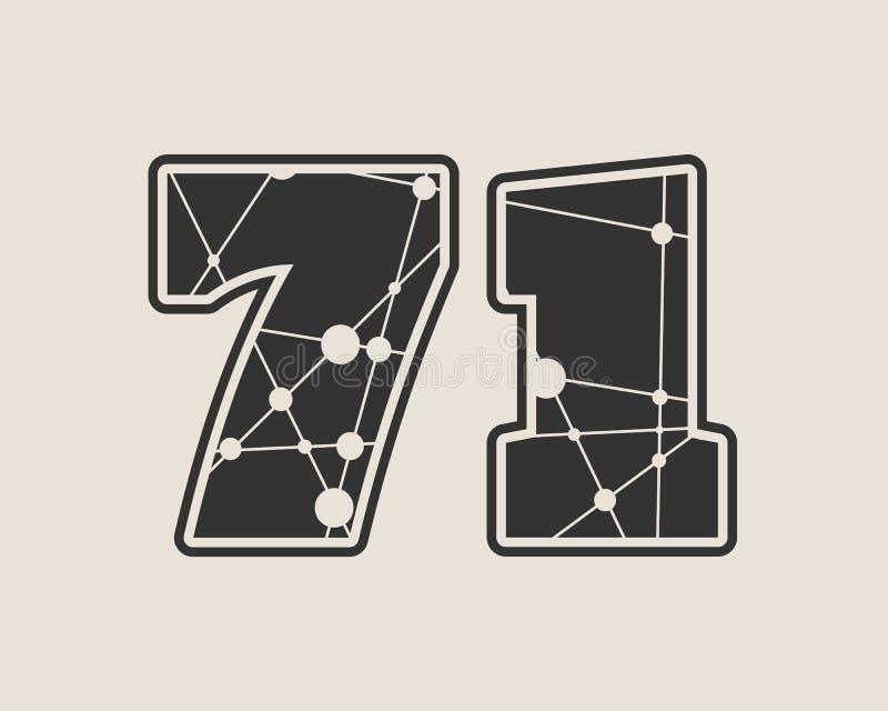 Vektorillustration mit 71 Zahlen vektor abbildung