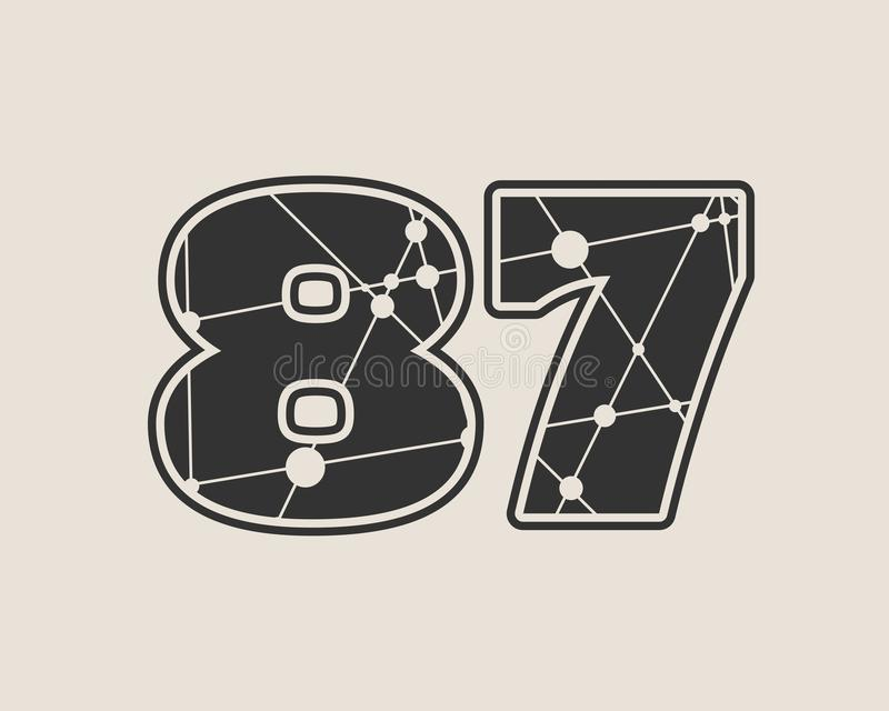 Vektorillustration mit 87 Zahlen vektor abbildung