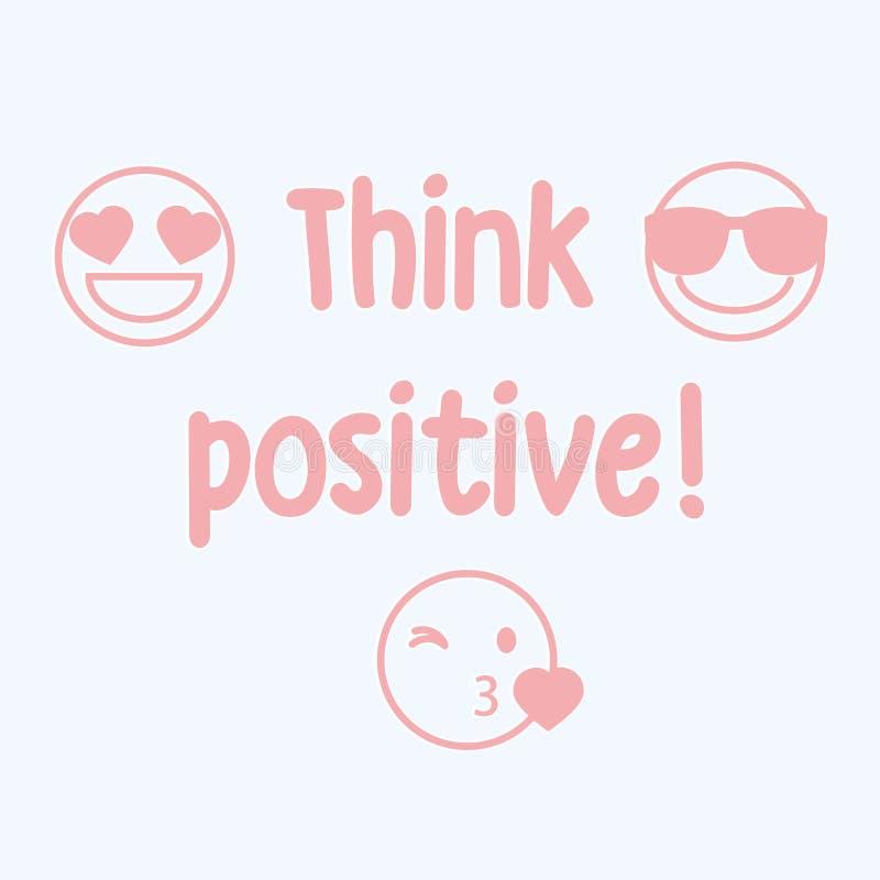 Vektorillustration, Modedruck für T-Shirt mit smiley, Emoticons, das emoji, beschriftend denken Positiv vektor abbildung