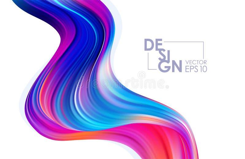 Vektorillustration: Modern färgrik flödesbakgrund Abstrakt våg vätskeShape Moderiktig konstdesign stock illustrationer