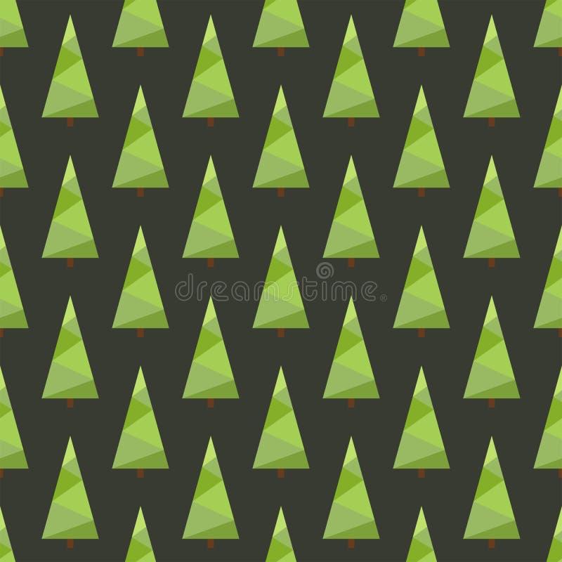 Vektorillustration: nahtloses Weihnachtsbaummuster mit geometrischen grünen farbigen Fichten stock abbildung