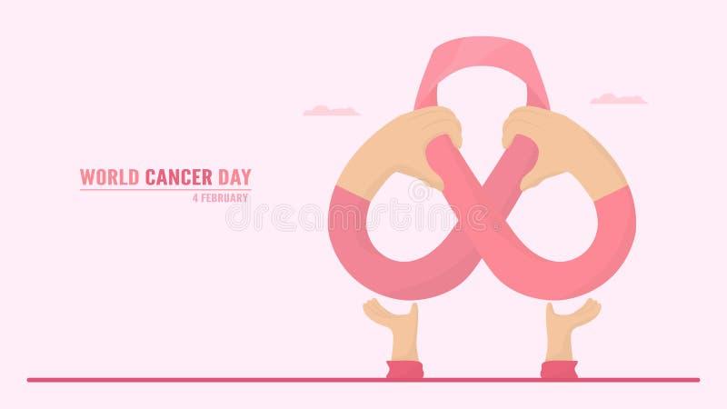 Vektorillustration om World Cancer Day Människor måste öka medvetenheten och utbildningen om denna sjukdom Det är ett tecken på d vektor illustrationer