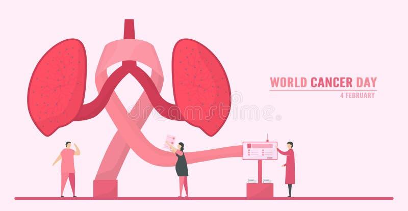 Vektorillustration om World Cancer Day Människor måste öka medvetenheten och utbildningen om denna sjukdom Det är ett tecken på d royaltyfri illustrationer