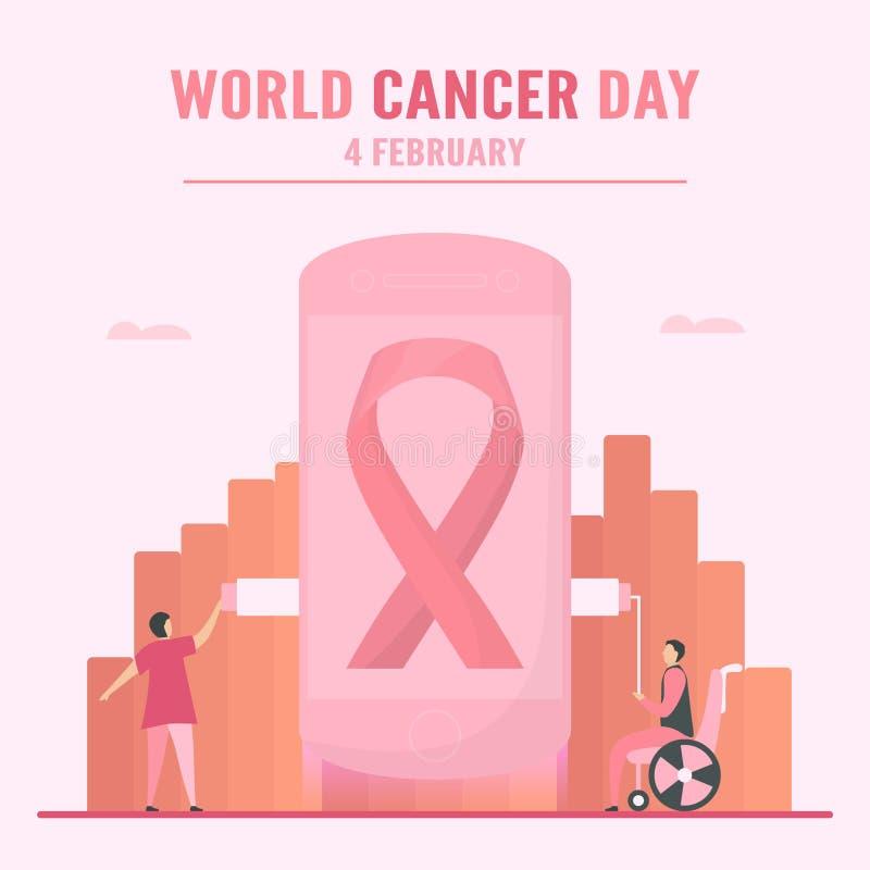 Vektorillustration om World Cancer Day Människor måste öka medvetenheten och utbildningen om denna sjukdom Det är ett tecken på d stock illustrationer
