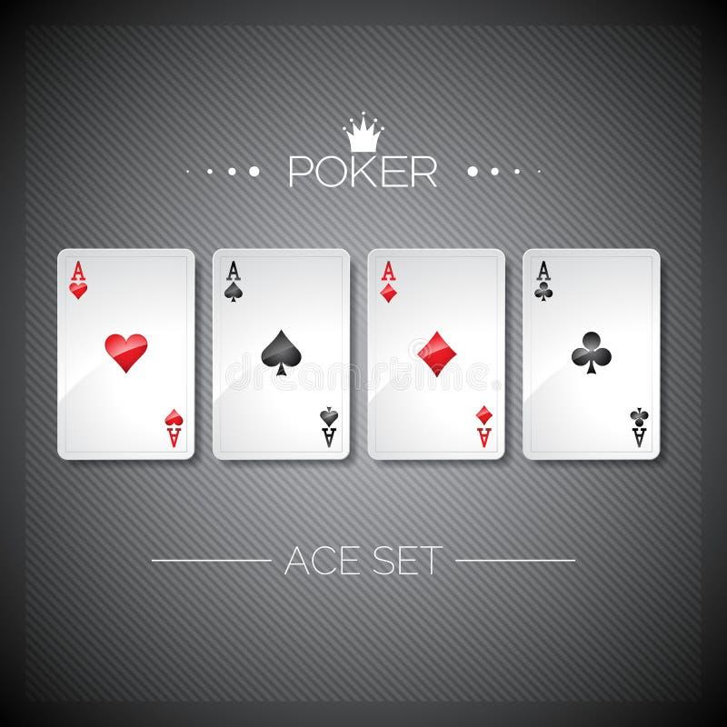 Vektorillustration på ett kasinotema med att spela pokerkort Fastställd mall för pokeröverdängare vektor illustrationer