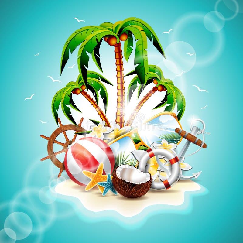 Vektorillustration på ett tema för sommarferie vektor illustrationer