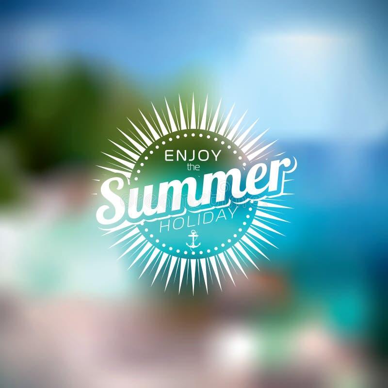 Vektorillustration på ett tema för sommarferie på suddig bakgrund stock illustrationer