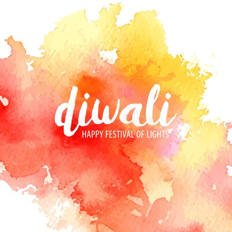 Vektorillustration på temat av den lyckliga diwalien för traditionell beröm Vattenfärgfläck med inskriften stock illustrationer