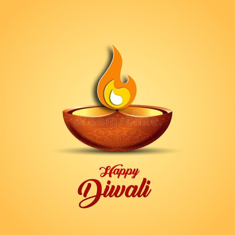 Vektorillustration på temat av den traditionella berömmen av Diwali stock illustrationer