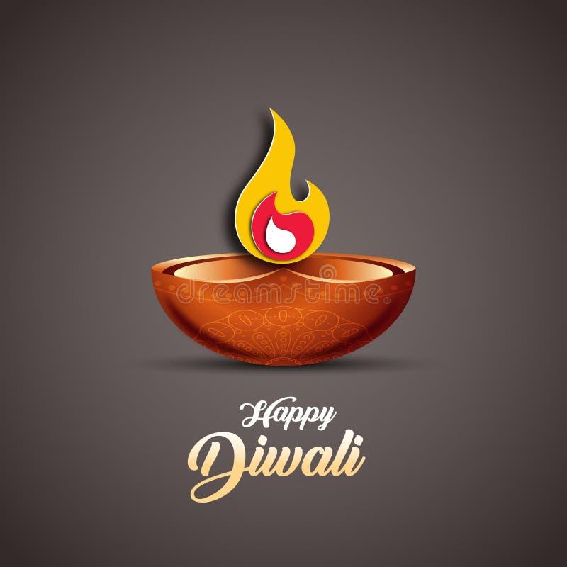 Vektorillustration på temat av den traditionella berömmen av Diwali vektor illustrationer