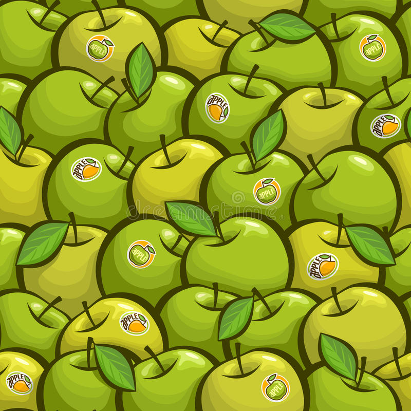Vektorillustration på temat av grön äpplebakgrund vektor illustrationer