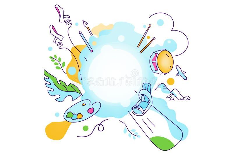 Vektorillustration på temat av olika intressen, hobbyer, passion av folk Sport konst, balett, skateboarding, berg, royaltyfri illustrationer