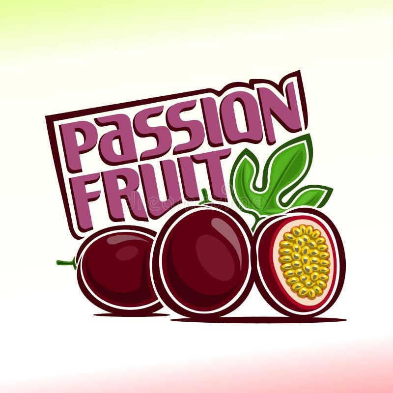 Vektorillustration på temat av passionfrukt vektor illustrationer