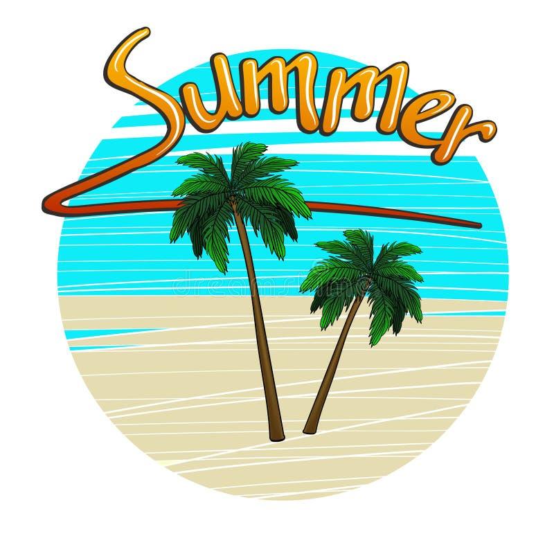 Vektorillustration: palmträd på ön med handskriven bokstäver av sommar royaltyfri illustrationer
