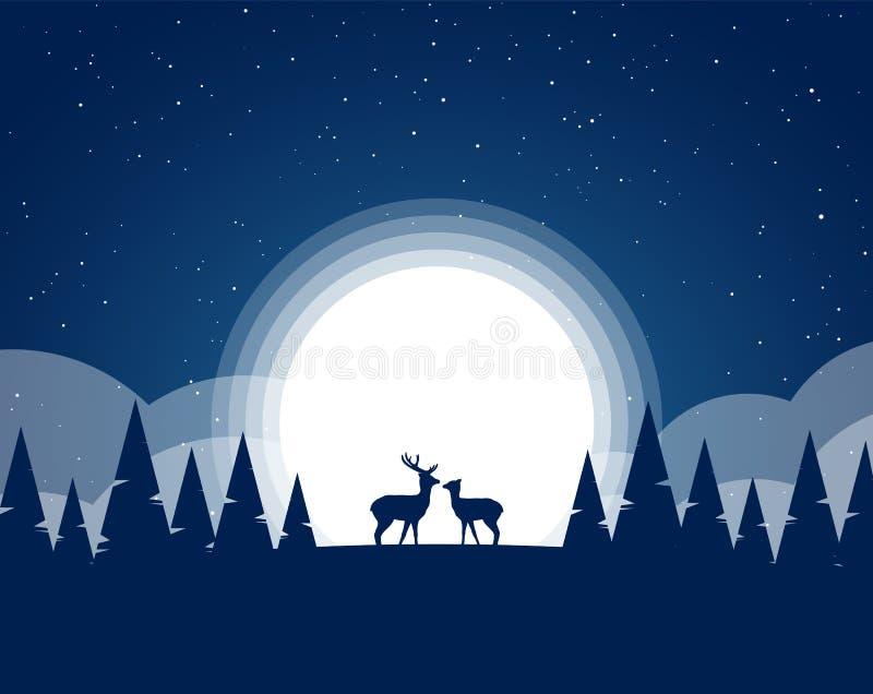Vektorillustration: Plant nattlandskap med konturn av två hjortar, pinjeskog, fullmåne och stjärnor stock illustrationer