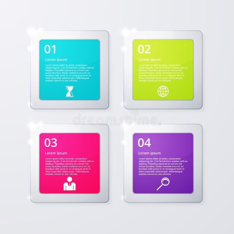 Vektorillustration quadratischen infographics vier lizenzfreie abbildung