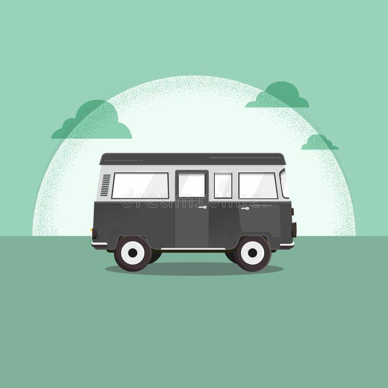 Vektorillustration - röd skåpbil för Retro lopp moon Surfareskåpbil Tappningloppbil Gammal klassisk campareminivan Retro hippiebu stock illustrationer