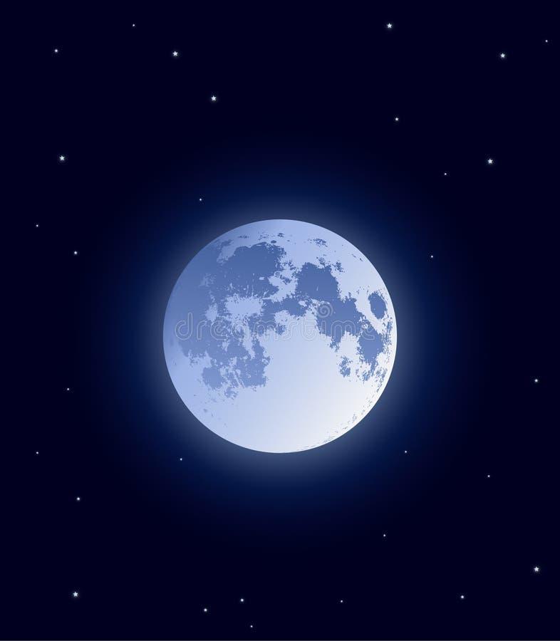Vektorillustration: realistischer Mond auf dunklem Hintergrund mit glänzenden Sternen lizenzfreie stockbilder